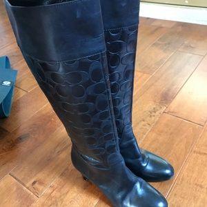 Coach black riding boots